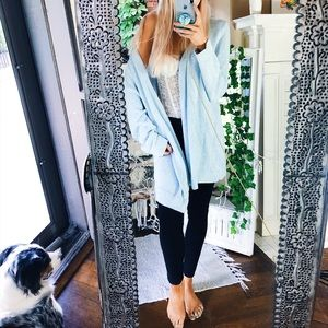 Baby Blue Ella Speckled Woven Cardigan A69